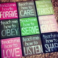 I like the square canvases with varying color and matching text. Maybe use this for favorite scriptures.