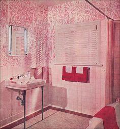 1952 Pink, Pink, & Red Bath, via Flickr.