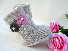 Instant Download Knitting Baby Pattern Uggs Knit Baby Shoes Crochet Flowers Knitted Newborn Booties Baby Girl Booty Children Patterns ONLY