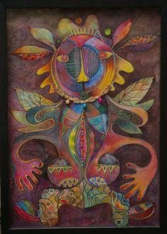 Série Divinités, Chamanes et Créatures. Technique mixte, perles cousues sur papier. Artiste Patricia Mouton.