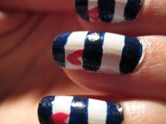 nautical hearts nails