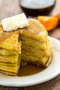 Orange Vanilla Pancakes with Vanilla Maple Syrup