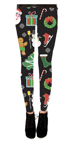 a5d58de496273 Holiday Symbols All Over Juniors Black Ugly Christmas Leggings Leggings  Party, Holiday Leggings, Ugly