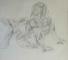 Gesture drawing. All the lines together show someone leaning back with a leg propped on the other leg. Jenny Splawn