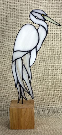 White Egret Stained Glass Bird on Wood Base Heron by BerlinGlass