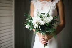 Bride's White and Green Bouquet | Brides.com
