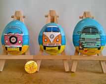 Commission vw camper painting.  Original Painting of your Camper On a River pebble