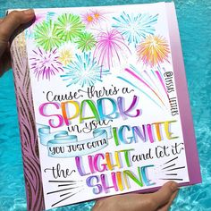 """Alyssa 👩🏻🎨  🇺🇸 on Instagram: """"🎵Just ooooown the niiiiiiight like the Fourth of July! 'Cause baby you're a FIREWORK!🎵🎶 for the #letteringsisters challenge with…"""" Hand Lettering Quotes, Creative Lettering, Brush Lettering, Lettering Design, Japanese Handwriting, Creating A Bullet Journal, July Quotes, Calligraphy Cards, Marker Paper"""