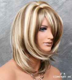 3 Tones Blonde brown mix Silky Straight Bangs Wig JSDD 12-24-613 Pixie Hairstyles, Hairstyles With Bangs, Easy Hairstyles, Straight Hairstyles, Hair Color For Women, Cool Hair Color, Hair Colors, Color Rubio, Straight Bangs