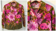 Vintage Graff Californiawear Mod Pink Floral Print Shirt with Exaggerated Collar by ElkHugsVintage on Etsy