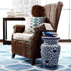 Graciosa Mocha Brown Wicker Wing Chair | Pier 1 Imports