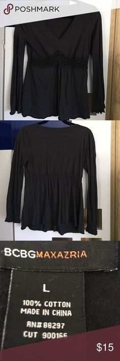 Black Cotton tunic BCBG Maxazria Black cotton tunic crocheted at waist ... Size large. 100% Cotton.Great way to rock your day. BCBGMaxAzria Tops Tunics
