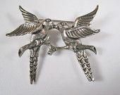 Love Birds Brooch Pin Vintage German Sterling Silver