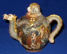 19thC Japanese Meiji Satsuma Porcelain Dragon Arhats Teapot Choshuzan