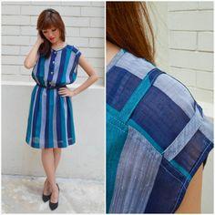 1970 Vintage Dress/ Shades of the Sea Dress/ Medium Dress/ Small Dress/ Blue Dress/ Capsleeve Dress/ Sheer Dress/ Knee Length Dress/ Pretty by HEIRESSxVintage on Etsy
