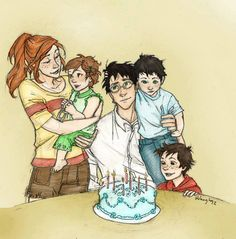 Harry, Ginny, and their kids. http://cheesebucket100.deviantart.com/art/Happy-Birthday-Harry-by-burdge-bug-colored-324763740
