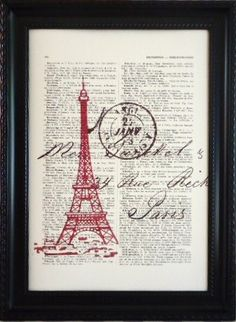 Paris red Eiffel tower romantic print on a vintage french dictionary page, dictionary print for your wall (8). $8.95, via Etsy.