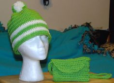 crochet hat scarf and cell phone purse by crochetbysybil on Etsy, $20.00