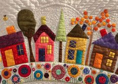 """Round the Garden"" by Helen Anderson - Houses - Quiltingr - House Quilt Patterns, House Quilts, Dress Patterns, Felt Embroidery, Felt Applique, Quilting Projects, Quilting Designs, Quilted Table Runners Christmas, Aplique Quilts"
