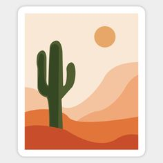 abstract desert and cactus art - Cactus Art - Sticker Minimal Art, Simple Canvas Paintings, Watercolor Beginner, Dorm Art, Mini Canvas Art, Aesthetic Painting, Cactus Art, Abstract Wall Art, Diy Painting