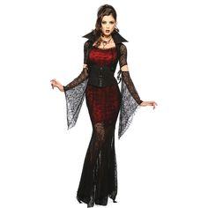 Super Cobweb Mesh Girls Halloween Vampire Costume ($43) ❤ liked on Polyvore featuring costumes, black, womens halloween costumes, vampiress costume, sexy halloween costumes, sexy womens costume and women's vampire halloween costumes
