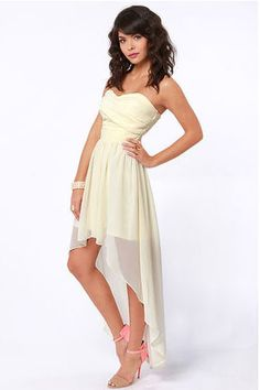 The Ruched Reverie Cream Strapless Dress has arrived to sweep you off your feet! Strapless sweetheart bodice with ruched panels of Georgette, and a high-low hemline. Off White Dresses, Hi Low Dresses, Grad Dresses, Dresses For Teens, Cute Dresses, Beautiful Dresses, Casual Dresses, Bridesmaid Dresses, Formal Dresses