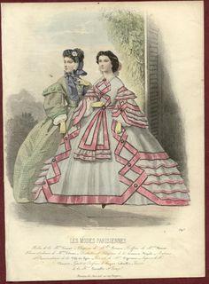 2 Original LES Modes Parisiennes Colored Prints 1861 | eBay