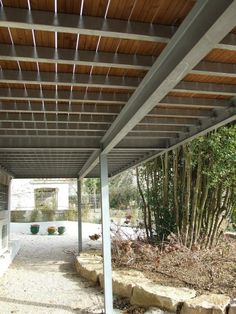 Have a look at this incredible deck garden - what an imaginative design White Pergola, Deck With Pergola, Diy Pergola, Balcony Design, Deck Design, House Design, Framing Construction, Steel Deck, Building A Deck