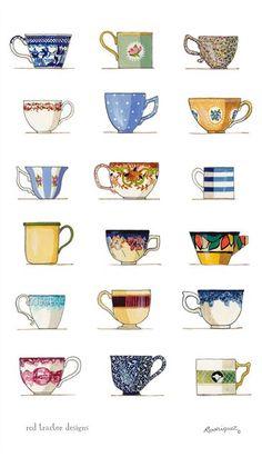 'Teacups' tea towel by Rodriquez, Australia