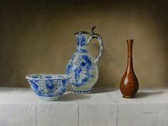 Jan Teunissen, Chinese 'kraaien' kom, Transition klepkan met zilvermontuur en bronzen Meji vaas , olieverf op paneel, 30 x 40 cm.