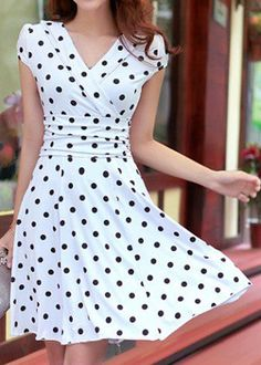White Polka Dot Print Pleated V-neck Short Sleeve Chiffon Dress - Midi Dresses - Dresses