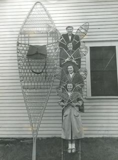 Giant snowshoe in Norway, Maine - Photo by Jack Quinn, 1949