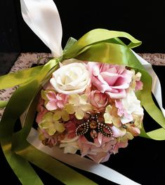 Sweet Little Flower Ball perfect for a Spring or Summer Wedding. With a pretty brooch as a keepsake for your Flower Girl.  Colors can be changed to fit with your Wedding scheme.  This one is filled with soft Pink and Ivory Roses along with shades of Green, Pink & Ivory Hydrangea.   The Circumferenc