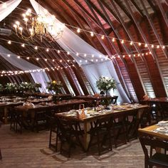 WOW! Omnivent Inc did a fabulous job with the fabric draping and string lights for Stephanie and MJ's engagement party in the Barn! #rustic #barn #rusticwedding #njwedding #wedding #PeronaFarms