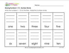 missing numbers 1-10 number words