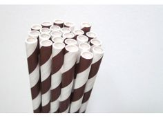 Striped Chocolate Brown Paper Straws