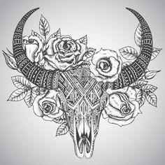 Afbeeldingsresultaat voor cow skull tattoo leaves and flowers Cow Skull Tattoos, Skull Tattoo Flowers, Bull Tattoos, Taurus Tattoos, Leg Tattoos, Body Art Tattoos, Sleeve Tattoos, Tattoo Sleeves, Butterfly Tattoos