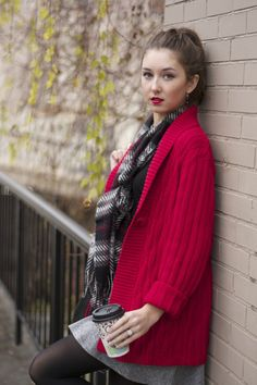 red cardigan style