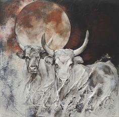 'Red moon' 30x30cm Création de Sophie Dumas