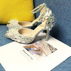 Want to feel like a lifesize princess for your big event? Then step right into these silver rhinestone heels adorned with a beautiful crystal bow. These glistening silver heels also come with detachable straps for another versatile look converting the shoes into pumps. These unique low comfortable Silver Rhinestone Heels, Rhinestone Wedding Shoes, Silver Wedding Shoes, Wedding Pumps, Wedding Shoes Heels, Silver Heels, Crystal Rhinestone, Crystal Wedding, Quinceanera