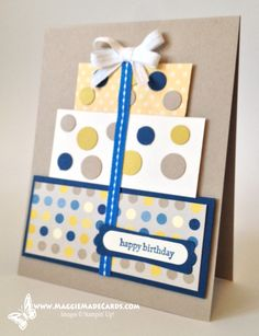 cake, circle punches, birthday or wedding gift present stack, polka dotted cuteness. Great way to use scraps.