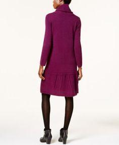 Ny Collection Petite Cowl-Neck Sweater Dress - Purple P/XS