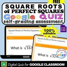 FREE- Square Roots of Perfect Square Google Digital Quiz ! This is a 10-question, self-grading quiz that assesses your student's finding SQUARE ROOTS OF PERFECT SQUARES using Google Forms. Topics: Find the square root of perfect squares. 8th Grade math common core 8.ee.2 Google classroom Distance learning middle school