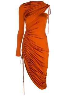 Burnt orange satin single sleeve cocktail dress from Monse featuring a round neck, a ruched side section, an asymmetrical shape, a drawstring fastening, a cold shoulder design and an adjustable fit. Satin Cocktail Dress, Cocktail Attire, Cocktail Dresses, Elegant Cocktail Dress, Burnt Orange Dress, Haute Couture Style, Vetement Fashion, High Fashion, Womens Fashion