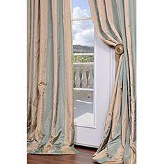 The extra puddling looks soo elegant.  Signature Stripe Beige/ Sea Foam Green Faux Silk Taffeta 96-inch Curtain Panel
