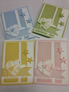 Would make nice baby cards Diy Cards Baby, Baby Girl Cards, Boy Cards, New Baby Cards, Baby Shower Cards, Kids Cards, Cute Cards, Kirigami, Hand Made Greeting Cards
