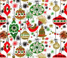 Funky Mid-Century Christmas Ornaments Background by DigitaIDecades