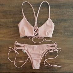 Swimwear: pink, bikini, dusty pink, strappy bikini - Wheretoget