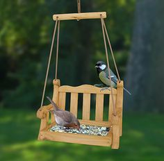 Give your garden birds somewhere to hang out with this cute swing seat bird feeder.