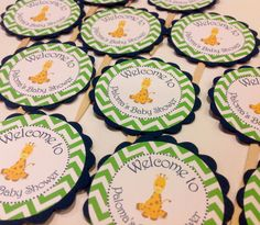 12 Cupcake Toppers  Baby Giraffe Unisex Baby by EmeraldCityPaperie